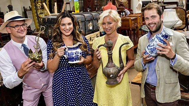 Cast of Celebrity Antiques Road Show - Series 8- Four celebritites standing in a row holding up various antiques.