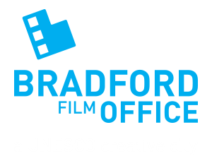 Bradford film office logo- blue Bradford film office text with a film reel logo on top