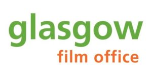 Glasgow film office logo- glasgow in green text film office in orange