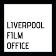 Liverpool Film Office logo, Liverpool Film Office text in black with a white background and square black outline.