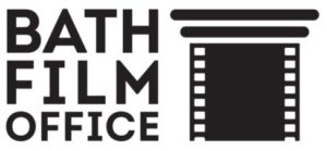 Bath Film Office logo- Black Bath Film Office text with a black film reel graphic next to the writing