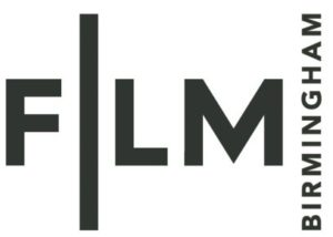 Film Birmingham logo- Grey Film text with birmingham written vertically to the right.