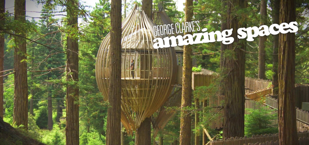 George Clarke's Amazing Spaces Series 8 poster of acorn tree house hanging in the trees within a forest