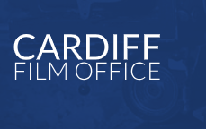 Cardiff film office logo- blue background with Cardiff film office written in white text.