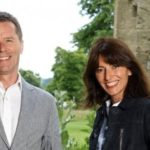 Presenters Davina McCall and Nicky Campbell pictured standing together outdoors.