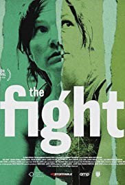 Main actor and director/writer of The Fight movie, Jessica Hynes, pictured on the front cover looking into the distance. Green background with white text saying the fight