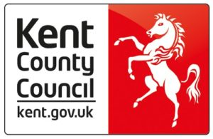 Kent County Council logo- to the right of the black text is a red background with a white horse on its hind legs.