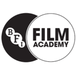 Bfi Academy logo- two circles overlapping, one black with BFI in smaller white circles, one white with film academy written in black text