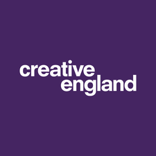 Creative England logo- purple background with white text reading Creative England