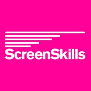 Screen Skills Logo- Pink background with Screen Skills written in white, 5 white lines stack on top.