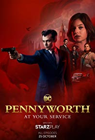 Alfred Pennyworth points a gun on this poster image with a montage of characters in the background. Red backdrop with faint image of castle in the background.
