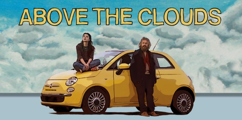 Above the Clouds movie poster- Two characters sat and leant up against a yellow car with clouds in the background. Animated style image.