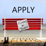 Image of a red bench with Filming in Progress sign attached. Sea in the background. Apply written in Black Text. Link to application page.