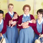 Nurse Lucille Anderson (Leonie Elliott), Nurse Trixie (Helen George), Nurse Crane (Linda Bassett) Valerie Dyer (Jennifer Kirby) © BBC: Nurse Lucille Anderson (Leonie Elliott), Nurse Trixie (Helen George), Nurse Crane (Linda Bassett) Valerie Dyer (Jennifer Kirby) dressed in their midwives costumes holding babies in a maternity hospital