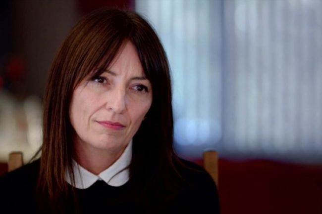 Close up of presenter Davina McCall looking into the camera wearing a black jumper