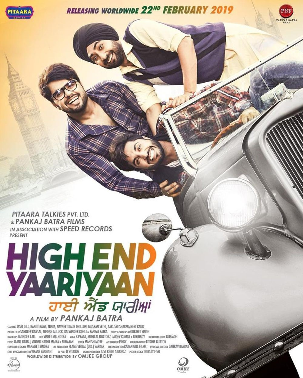 Movie poster depicting the title High End Yaariyaan and stars Jassie Gill, Ranjit Bawa and Ninja in a silver Rolls Royce with Big Ben in the background.