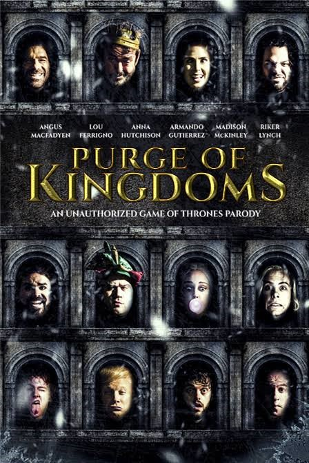 "Film poster depicting the portraits of 12 cast membersonn a grey medieval-style grid. With the title ""Purge of Kingdoms"" is in gold lettering"