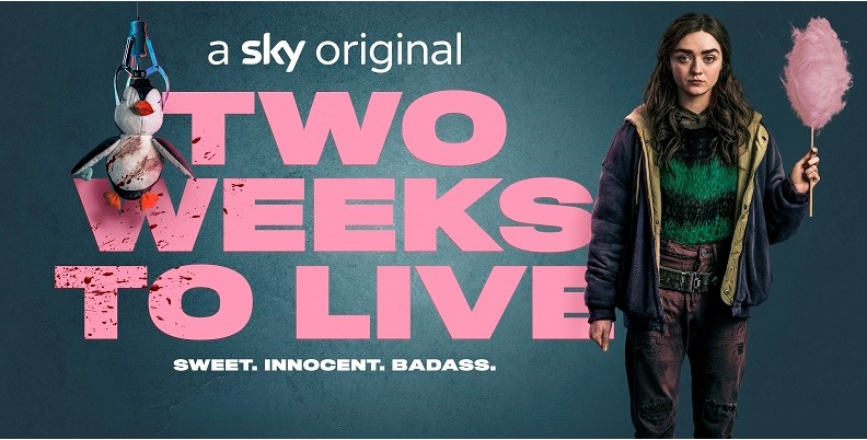 Maisie Williams as character Kim Noakes stands to the right of the programme title against a blue background holding candy floss. She is wearing scruffy clothes featuring a green and black jumper, blue hooded jacket and ripped burgundy trousers. A penguin toy splattered in blood is suspended in front of the programme title featured in pink with the strapline Sweet. Innocent. Badass. Underneath.