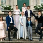 The Bridgerton family stand in a group on the steps outside their Regency home