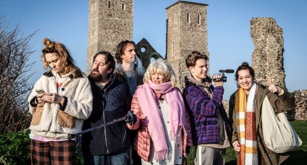 The Jessop family stand in front of the Towers at Reculver country park on their family holiday.