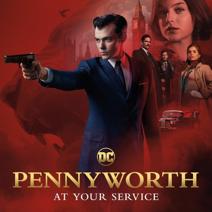 Alfred Pennyworth points a gun on this poster image with a montage of characters in the background. Red backdrop with faint image of castle in the background