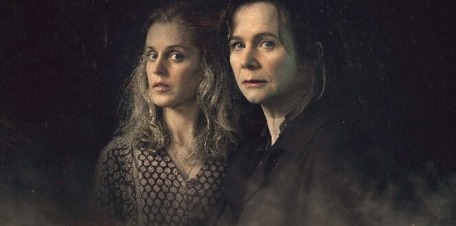 Connie Mortenson (played by Denise Gough) and psychiatrist Dr Emma Robertson (played by Emily Watson) stand side by side looking to camera with a dark background, the mood of the image is sinister.