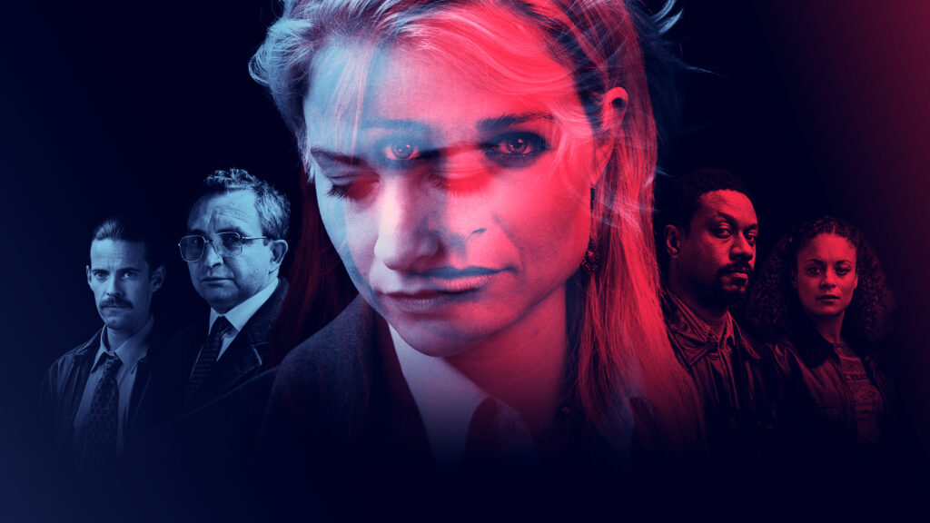 Alt Text – An image showing five characters from the TV series in red and blue tones. Pictured left are two men wearing suits Pedder (Harry Treadaway) and Britton (Eddie Marsan). Centre frame is Sadie / Lizzie (Niamh Algar), she has blonde hair and heavy make-up and the image is overlapped with two expressions; one looking down and one looking to the camera. To the right of the frame are Baz (Nathaniel Martello-White) and Lucy (Rochenda Sandall) wearing leather jackets.